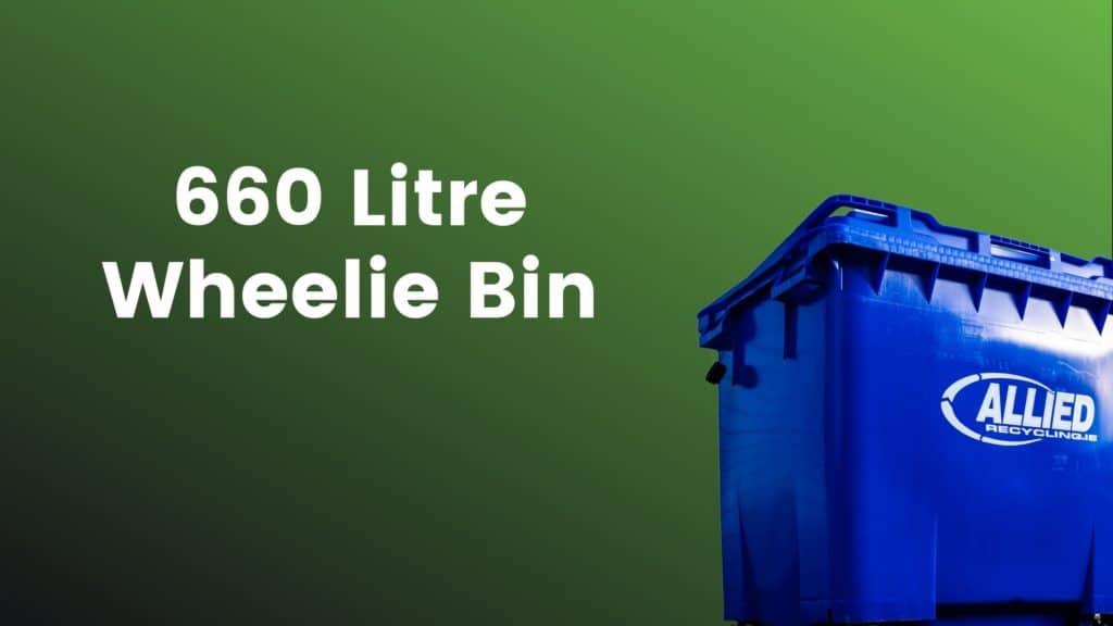 Blue 660 litre wheelie Bin